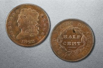 A US half-cent coin