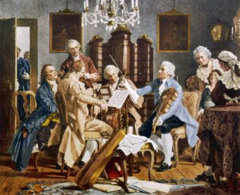Haydn conducting a string quartet