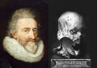 A portrait of King Henri IV, and the mummified head