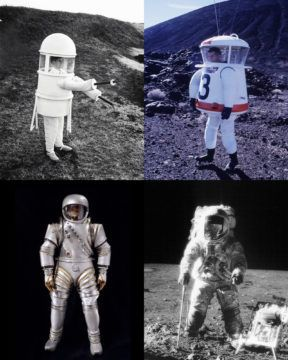 An assortment of moon suit proposals, and the iconic final version